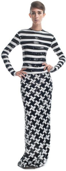 Large Stripe Sequin Georgette Gown - Lyst