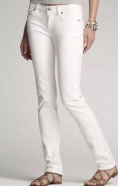 0de04aad86 Crew white stretch matchstick jeans- J.Crew white stretch matchstick jeans-  Very light wear. Full length inseam (not cropped).