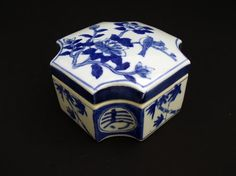 Vintage Blue and White Porcelain Trinket Box Hand Painted Unique Shape