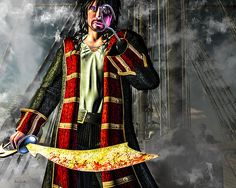 Hook - Pirate Extraordinaire - Original pirate fantasy fine art by Bob Orsillo.  Copyright (c)Bob Orsillo / http://orsillo.com - All Rights Reserved.  Buy art online.  Buy photography online  Captain James Hook. Graduate of Eton College Reader of Shakespeare and Shelley Closest friend Roger Peter Davies also known as Jolly Roger. Pirate Extraordinaire.