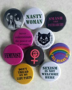25mm Pin Button Badge Cute Vintage Feminine Feminist Lady Artwork Woman 1 Inch