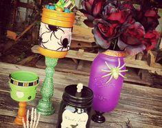 Decorating mason jars for Halloween