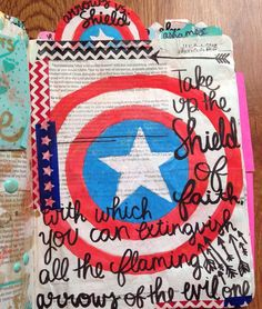 My favorite avenger is Captain America so i kinda nerded out on this one Page by:McCray #illustratedfaith #biblejournalingcommunity #biblejournaling http://ift.tt/1KAavV3