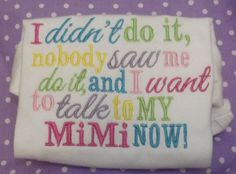 mimi embroidered onesie tshirt by spoiledbabyboutique on Etsy, $15.00