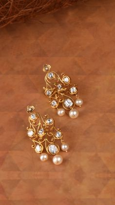 AZVA polki diamond earrings with pearls Indian Jewelry Earrings, Gold Jhumka Earrings, Jewelry Design Earrings, Gold Earrings Designs, Gold Jewellery Design, Bridal Jewelry, Diamond Earrings, Boho Jewelry, Bride Earrings
