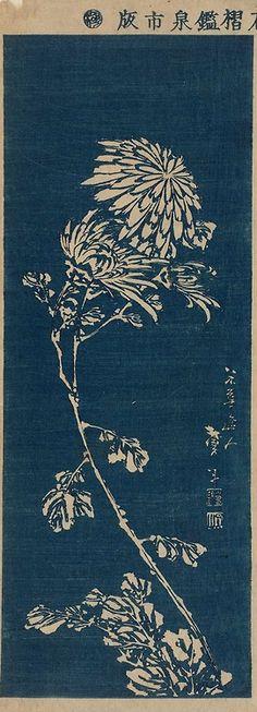 illustration japonaise : gravure de Katsushika Taito II, Chrysanthèmes, 1830, bleu, fleurs