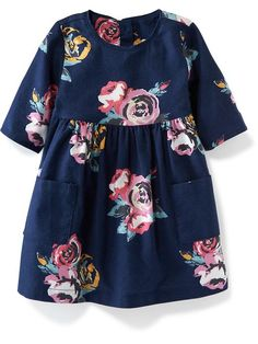 Old Navy double-pocket twill dress for baby, blue floral