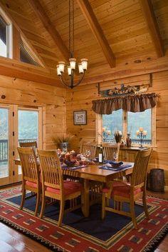 Log Home - Log Cabin Homes- Like the cathedral ceilings https://www.divesanddollar.com/lowes-dining-room-lights/ #loghomes