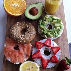 #bagels #salmon #strawberry #avocado #juice #fitness