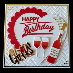 S202 Hand made Birthday card using MFT Wine and Joanna Sheens Happy Birthday