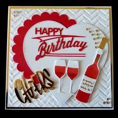 S202 Hand made Birthday card using MFT Wine and Joanna Sheens Happy Birthday