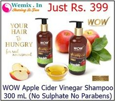 WOW Apple Cider Vinegar Shampoo 300 mL No Sulphate No Parabens Rs 399