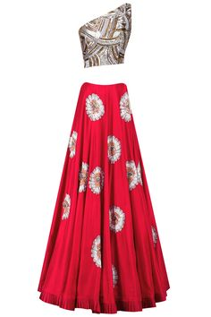 Red flower embroidered lehenga with sequins sheeted one shoulder crop top available only at Pernia's Pop Up Shop.