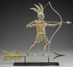 A large selection of folk art included this molded copper full body weathervane of a Massasoit Indian with feather headdress and drawn bow.  Discovered in a barn in New York State, it brought $29,900 against an estimate of $18,000-22,000.