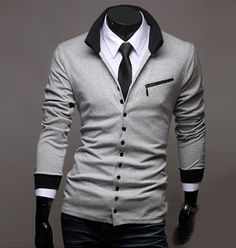 Men's Stand Collar Button Down Cardigan