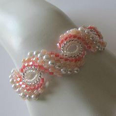 Peyote bracelet...Pearl Blush, pale peach pink and cream white, beaded bracelet, beaded jewelry, beadweaving, NOW ON SALE was 84 now 65 via Etsy