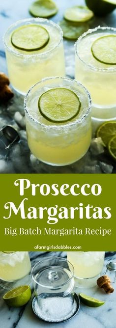 Prosecco Margaritas a big batch cocktail recipe from afarmgirlsdabbles This bubbly Prosecco margarita recipe was made for entertaining. In big batch recipe form a pitcher of margaritas is ready for guests before they arriveno mixing individual drinks! Party Drinks, Fun Drinks, Healthy Drinks, Beverages, Holiday Drinks, Healthy Food, Refreshing Drinks, Party Snacks, Food And Drinks
