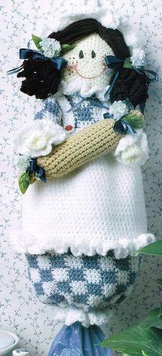 24be31b110bb Adorable Doll Plastic Bag Holder Dispenser Crochet Pattern