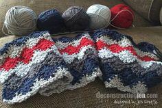 Harlequin crochet baby blanket for a boy