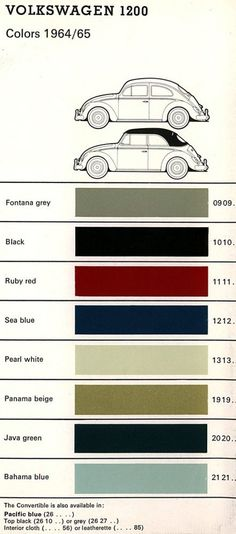 Nice Volkswagen 2017: VOLKSWAGEN 1200 - 1964-65 Volkswagen Colors - 1964-65 VW Bug and Ghia Colors...  Volkswagen Check more at http://carsboard.pro/2017/2017/01/22/volkswagen-2017-volkswagen-1200-1964-65-volkswagen-colors-1964-65-vw-bug-and-ghia-colors-volkswagen/