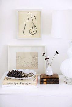 framed sketches and books via rue magazine. / sfgirlbybay