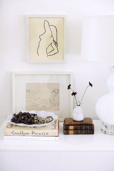 framed sketches and books via rue magazine. / sfgirlbybay