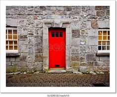 """""""Red door on old European stone house"""" - Art Print from FreeArt.com"""