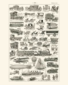 Take a trip into the steampunk era with these Intriguing illustrations of real carriages, automobiles, boats, airships, and airplanes from the 19th and early 20th century.