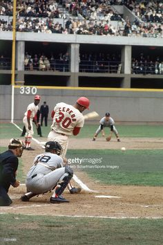 Orlando Cepeda #30 of the St. Louis Cardinals batting against the Boston Red Sox during the 1967 World Series in St. Louis, Missouri.