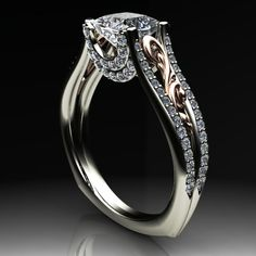 Two tone Palladium and rose gold scroll cathedral princess cut diamond engagement ring with double diamond bridge