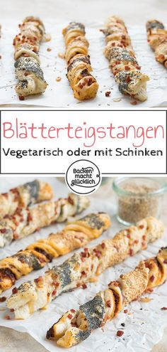 Herzhafte Knusperstangen A real eye-catcher and a special snack in one: These puff pastry treats tas Party Finger Foods, Party Snacks, Appetizers For Party, Waffle Recipes, Gourmet Recipes, Snack Recipes, Food Tags, Healthy Snacks, Healthy Recipes