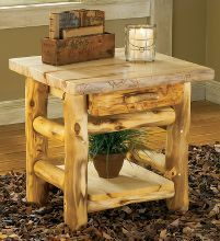 Mountain Woods Furniture® Aspen Log One-Drawer End Table : Cabela's
