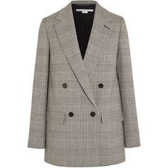 Stella McCartney Milly Prince of Wales checked wool-blend blazer (11 935 SEK) ❤ liked on Polyvore featuring outerwear, jackets, blazers, blazer, grey, training jacket, double breasted blazer, gray blazer, blazer jacket and tailored blazer