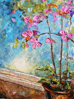 Original Oil PaintingOrchids 9x12 Modern Contemporary by mgotovac
