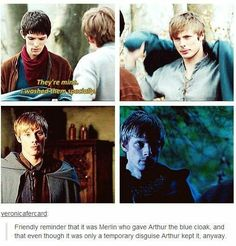 Omg Merlin looks so hurt in the first one.Arthur loved the blue cloak as much as he loved Merlin. Still such an amazing scene ❤ Merlin Memes, Merlin Funny, Merlin Quotes, Sherlock Quotes, Merlin Show, Merlin Fandom, Merlin Merlin, Bradley James, Merlin And Arthur