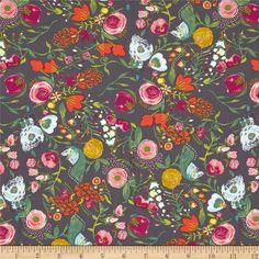 Designed by Bari J. for Art Gallery, this cotton print fabric is perfect for quilting, apparel and home decor accents. Art Gallery Fabric features 200 thread count of finely woven cotton. Colors include pink, chartreuse, green, light blue, and grey.
