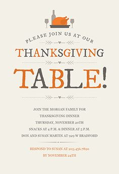 Free Give Thanks Thanksgiving Dinner Invitation  Thanksgiving