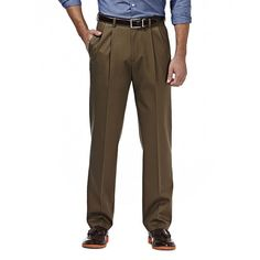 Men's Haggar Premium No Iron Khaki Stretch Classic-Fit Pleated Pants, Size: 38X32, Med Brown