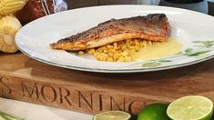James Martin's Cajun sea bass with lime beurre blanc add more white wine ratio and use shallots not red onion Chef Recipes, Fish Recipes, James Martin, Fish Dinner, Sea Bass, Morning Food, Fish And Seafood, Main Meals, Fried Chicken