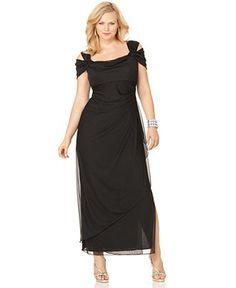 Alex Evenings Plus Size Dress, Cold Shoulder Empire Waist Evening Gown - Plus Size Dresses - Plus Sizes - Macys