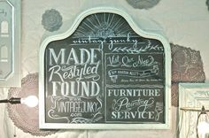 Vintage Junky. Lots of cute decorating ideas on her blog! Love this big old mirror turned chalk board.