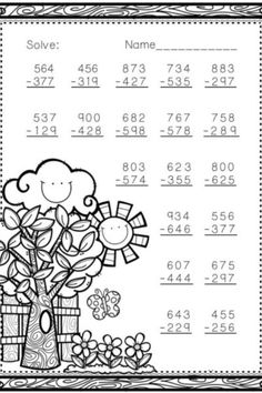 Are you looking for free 3 Digit Subtraction with Regrouping Coloring Worksheets for free? We are providing free 3 Digit Subtraction with Regrouping Coloring Worksheets for free to support parenting in this pand Math Shapesmic! #3-DigitSubtractionwithRegroupingColoringWorksheets #SubtractionwithRegroupingColoringWorksheets3-Digit #3-Digit #Subtraction #With #Regrouping #Coloring #Worksheets #WorksheetSchools Math Practice Worksheets, Subtraction Worksheets, Math Resources, Math Activities, Subtraction Regrouping, 2nd Grade Classroom, Third Grade Math, Math Stations, Math Centers