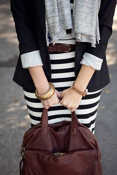 stripes + blazer + brown leather + gold accessories