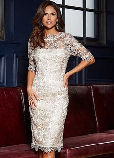 Show some skin while staying covered up in this stunning lace dress, which toes the line between prim and provocative. A simple flattering shape, it featur Elegant Dresses, Casual Dresses, Summer Dresses, Occasion Wear, Occasion Dresses, Lace Bridesmaid Dresses, Wedding Dress, Lace Jacket, Linen Dresses