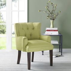 Margo Light Green Tufted-Back Accent Chair - Overstock™ Shopping - Great Deals on Living Room Chairs