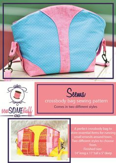 SEEMA Crossbody Bag Sewing Pattern ONLY | handbag patterns | purse patterns | bag sewing patterns | learn to sew