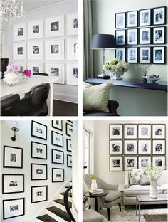 You can create an elegant accent wall  by hanging pictures with the same frame in the same size. This way you can create a more organized look. Probably this is the best option for perfectionists. Be sure to measure each frame and then place tape on the wall to dictate where the piece will go.