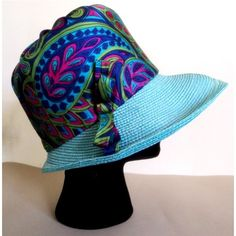 Vintage 1960's Paisley Brim Hat / Blue Purple by rockvintagesoul, $34.00