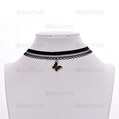 gargantilla con mariposa de negro para mujer-BRNEG116421