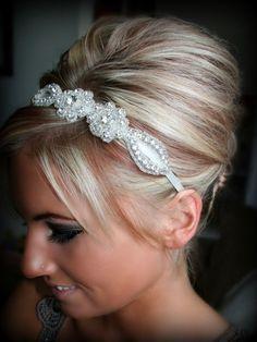Sweetheart Bridal Headband, Wedding Headband, Bridal Headband, Bridal Accessory, Rhinestone Headband, Wedding. $34.95, via Etsy.